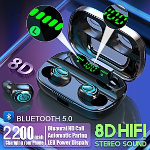 cheap Wired Earbuds-LITBest S11 TWS True Wireless Earbuds Bluetooth 5.0 Headphone 2200mAh Mobile Power for Smartphone LED Battery Display Touch Control IPX5 Waterproof Sports Fitness Earphones