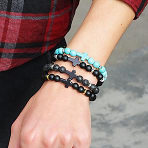 cheap Bracelets-Men's Link Bracelet Classic Heart Crown Trendy Casual / Sporty Alloy Bracelet Jewelry Black / Silver / Black / Blue For Daily