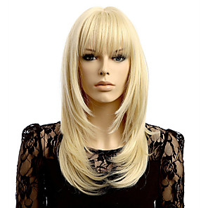 cheap Synthetic Trendy Wigs-Synthetic Wig kinky Straight Asymmetrical Wig Blonde Medium Length Blonde Synthetic Hair 17 inch Women's Best Quality Blonde