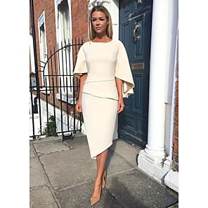 cheap Wedding Wraps-Sheath / Column Mother of the Bride Dress Elegant Jewel Neck Knee Length Charmeuse Half Sleeve with Tier 2020