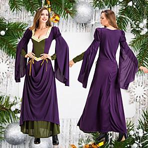 cheap Historical & Vintage Costumes-Princess Retro Vintage Medieval Renaissance Dress Masquerade Women's Costume Purple Vintage Cosplay Party Halloween Long Sleeve Floor Length