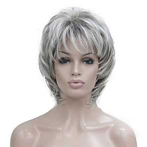cheap Synthetic Trendy Wigs-Synthetic Wig Wavy Wavy Pixie Cut Layered Haircut With Bangs Wig Short Grey Red Synthetic Hair 14 inch Women's Highlighted / Balayage Hair Gray