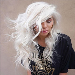 cheap Synthetic Trendy Wigs-Synthetic Wig Curly Asymmetrical Wig Long Creamy-white Synthetic Hair 27 inch Women's Best Quality White