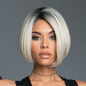 cheap Synthetic Trendy Wigs-Synthetic Wig kinky Straight Bob Wig Short Black / White Synthetic Hair 11 inch Women's Color Gradient White Dark Root