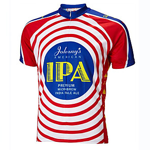 cheap Cycling Jerseys-21Grams Men's Short Sleeve Cycling Jersey Winter Red+Blue American / USA Bike Jersey Top Mountain Bike MTB Road Bike Cycling UV Resistant Breathable Quick Dry Sports Clothing Apparel / Stretchy