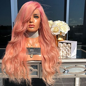 cheap Synthetic Lace Wigs-Synthetic Wig Body Wave Asymmetrical Wig Pink Long Pink Synthetic Hair 27 inch Women's Best Quality Fluffy Pink