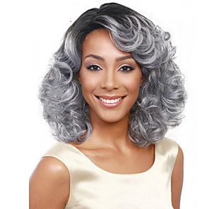 cheap Synthetic Trendy Wigs-Synthetic Wig Curly Asymmetrical Wig Short Grey Synthetic Hair 15 inch Women's Best Quality Gray