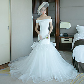 cheap Wedding Shoes-Mermaid / Trumpet Wedding Dresses Off Shoulder Court Train Tulle Polyester Short Sleeve Plus Size with 2020