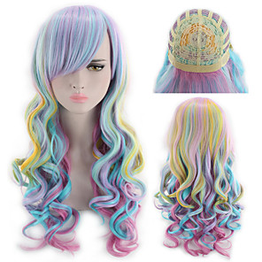 cheap Synthetic Trendy Wigs-Synthetic Wig Curly kinky Straight Asymmetrical Wig Long Rainbow Synthetic Hair 27 inch Women's Mixed Color