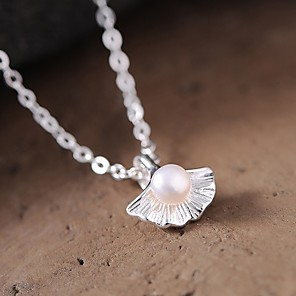cheap Necklaces-Women's Pearl Pendant Necklace Classic Classic Chrome Silver 45 cm Necklace Jewelry 1pc For Daily