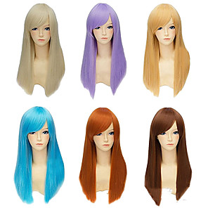cheap Synthetic Trendy Wigs-Synthetic Wig Straight kinky Straight Asymmetrical Wig Blonde Long Light Blonde Brown Blonde Blue Purple Synthetic Hair 23 inch Women's Best Quality Blonde Brown