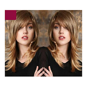 cheap Synthetic Trendy Wigs-Synthetic Wig Curly kinky Straight Asymmetrical Wig Medium Length Light Brown Synthetic Hair 16 inch Women's Best Quality Light Brown