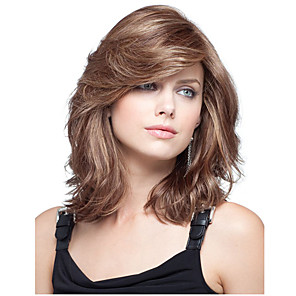 cheap Synthetic Trendy Wigs-Synthetic Wig Curly Asymmetrical Wig Medium Length sepia Synthetic Hair 16 inch Women's Best Quality Brown