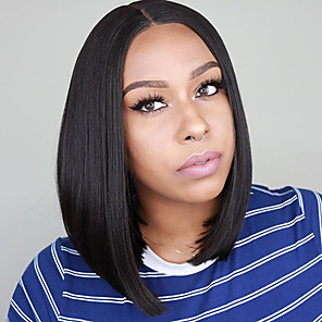cheap Synthetic Trendy Wigs-Synthetic Lace Front Wig Straight Middle Part Lace Front Wig Short Black#1B Synthetic Hair 10-16 inch Women's Soft Adjustable Party Black