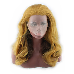 cheap Makeup Brush Sets-Synthetic Wig Curly Asymmetrical Wig Blonde Long Light golden Synthetic Hair 27 inch Women's Best Quality Blonde