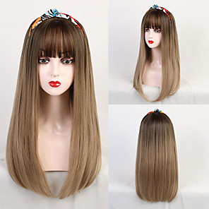 cheap Synthetic Trendy Wigs-Synthetic Wig Bangs Synthetic Extentions kinky Straight Natural Straight Avril Neat Bang With Bangs Wig Long Medium Brown / Strawberry Blonde Synthetic Hair 22 inch Women's Party Women Synthetic Brown