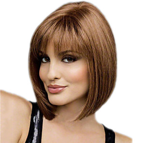 cheap Synthetic Trendy Wigs-Synthetic Wig Straight kinky Straight Asymmetrical Wig Short Brown Synthetic Hair 11 inch Women's Best Quality Brown