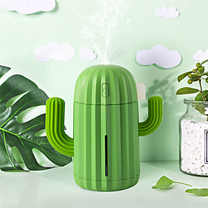 cheap Humidifiers-340ML USB Ultrasonic Air Humidifier Cactus Timing Aromatherapy Essential Oil Diffuser Aroma Mist Maker Fogger Mini with light