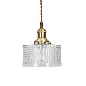 cheap Pendant Lights-1-Light Japanese Retro Brass Carved Glass Pendant Light Bedroom Bedside Aisle Balcony Bar Table Lamp