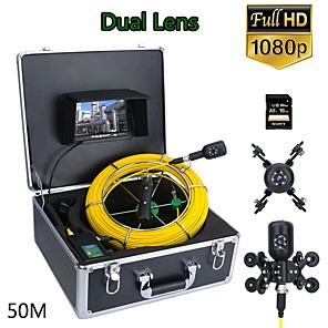 cheap CCTV Cameras-F7PD-2C-50M 7inch DVR 50M 1080P HD Dual Camera Lens Drain Sewer Pipeline Industrial Endoscope Pipe Inspection Video Camera Without WIFI
