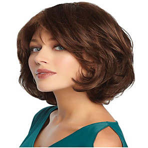 cheap Synthetic Trendy Wigs-Synthetic Wig Curly Asymmetrical Wig Short Light Brown Synthetic Hair 11 inch Women's Best Quality Light Brown