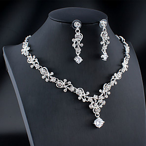 cheap Jewelry Sets-Women's White Cubic Zirconia Hoop Earrings Necklace Bridal Jewelry Sets Classic Drop Feather Pear Basic Elegant Korean Sweet 18K Gold Plated Rhinestone Imitation Diamond Earrings Jewelry Gold / Silver