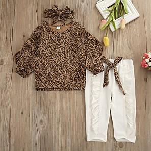 cheap Kids Collection Under $8.99-Baby Girls' Basic Leopard Long Sleeve Regular Clothing Set Brown