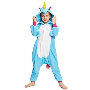 cheap Kigurumi Pajamas-Kid's Baby Kigurumi Pajamas Unicorn Pony Onesie Pajamas Flannel Toison Purple / Blue / Pink Cosplay For Boys and Girls Animal Sleepwear Cartoon Festival / Holiday Costumes