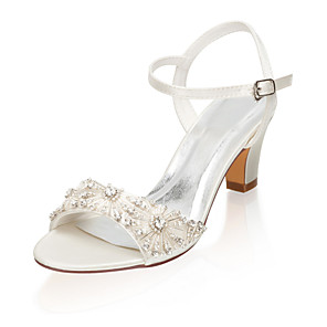 cheap Wedding Shoes-Women's Wedding Shoes Glitter Crystal Sequined Jeweled Chunky Heel Open Toe Rhinestone Satin Summer Ivory / Party & Evening