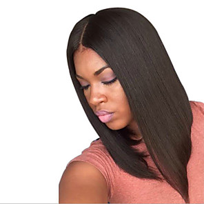 cheap Synthetic Trendy Wigs-Synthetic Wig Straight Deep Parting Wig Medium Length Natural Black Synthetic Hair 15 inch Women's Best Quality Middle Part Black