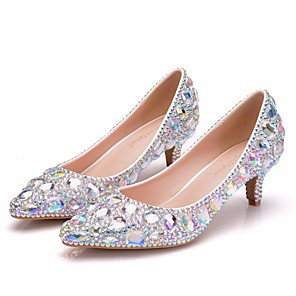 cheap Wedding Shoes-Women's Wedding Shoes Glitter Crystal Sequined Jeweled Low Heel Pointed Toe Rhinestone / Crystal / Sparkling Glitter PU Vintage / Minimalism Spring &  Fall / Spring & Summer Silver / Rainbow