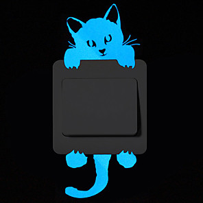 cheap Wall Stickers-Light Switch Stickers - Cartoon Blue Luminous Wall Stickers Switch Wall Decal Glow In The Dark Cat Room Decor Kitchen Sticker Baby Room Wall Decorations