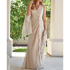 cheap Latin Dancewear-Sheath / Column Mother of the Bride Dress Elegant Plunging Neck Floor Length Chiffon Sleeveless with Ruffles Ruching 2020