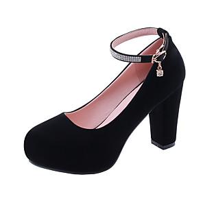 cheap Women's Heels-Women's Heels Chunky Heel Round Toe Rhinestone / Buckle Suede Minimalism Spring & Summer Black / Red / Blue
