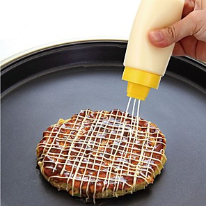 cheap Kitchen Utensils & Gadgets-4 Holes Squeeze Bottle Soft Sauce Bottle Safe Resin For Ketchup Jam Mayonnaise Olive Oil 300ml