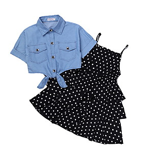 cheap Kids Collection Under $8.99-Kids Girls' Basic Polka Dot Short Sleeve Clothing Set Black