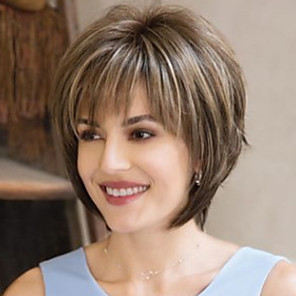 cheap Synthetic Trendy Wigs-Synthetic Wig Natural Straight Asymmetrical Wig Short Brown Synthetic Hair 6 inch Women's Brown