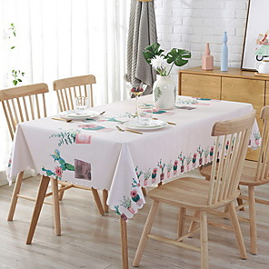 cheap Artificial Plants-Table Cloth polyester fibre Classic Geometric Tabel cover Table decorations for Square 90*135 cm Beige 1 pcs