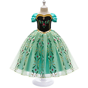 cheap Movie & TV Theme Costumes-Kids Girls' Gowns Prom Wedding Party Geometric Dress Green