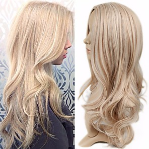 cheap Synthetic Trendy Wigs-Synthetic Wig Curly kinky Straight Asymmetrical Wig Blonde Long Blonde Synthetic Hair 27 inch Women's Blonde