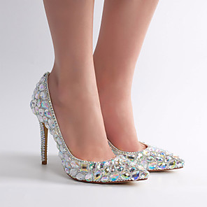 cheap Wedding Shoes-Women's Wedding Shoes Glitter Crystal Sequined Jeweled Stiletto Heel Pointed Toe Rhinestone / Crystal / Sparkling Glitter Lace / PU Vintage / Minimalism Spring &  Fall / Spring & Summer Silver