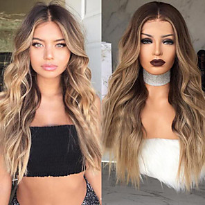 cheap Synthetic Lace Wigs-Synthetic Wig Wavy Body Wave Hathaway Middle Part Wig Ombre Long Black / Brown Synthetic Hair 26inch Women's Odor Free Heat Resistant Synthetic Ombre / Natural Hairline / Natural Hairline