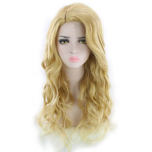 cheap Synthetic Trendy Wigs-Synthetic Wig Curly Asymmetrical Wig Blonde Long Blonde Synthetic Hair 27 inch Women's Blonde