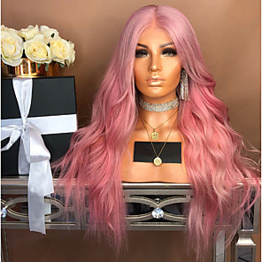 cheap Synthetic Lace Wigs-Synthetic Wig Body Wave Asymmetrical Wig Pink Long Pink Synthetic Hair 27 inch Women's Middle Part Pink