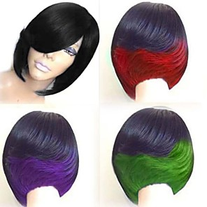 cheap Synthetic Trendy Wigs-Synthetic Wig Straight Bob Wig Medium Length Black / Burgundy Natural Black Black / Green Black / Purple Black / Red Synthetic Hair 10 inch Women's Color Gradient Best Quality Red Black