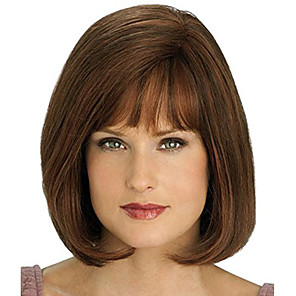 cheap Synthetic Trendy Wigs-Synthetic Wig Curly Asymmetrical Wig Short Golden Brown Synthetic Hair 11 inch Women's Best Quality Black