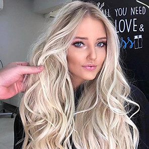 cheap Synthetic Lace Wigs-Synthetic Wig Body Wave Asymmetrical Wig Blonde Long Light Blonde Synthetic Hair 25 inch Women's Best Quality Middle Part Blonde