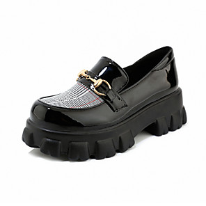 cheap Women's Boots-Women's Loafers & Slip-Ons Creepers Round Toe PU Preppy / Minimalism Spring & Summer Black / White