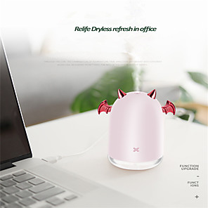 cheap Humidifiers-230ml Ultrasonic Air Humidifier Little Devil USB Aroma Essential Oil Diffuser For Home Car Mist Maker Fogger Color LED Lamp