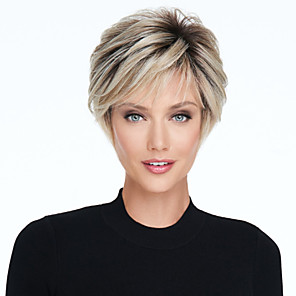 cheap Synthetic Trendy Wigs-Synthetic Wig kinky Straight Asymmetrical Wig Blonde Short Light Blonde Synthetic Hair 6 inch Women's Fluffy Blonde